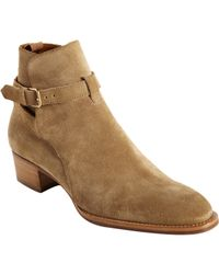 Saint Laurent | Natural Wyatt Ankle Boots | Lyst