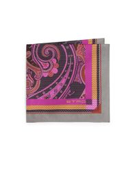 Etro - Multicolor Bordered Paisley Silk Pocket Square for Men - Lyst
