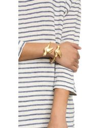 Tory Burch | Metallic Dove Cuff Bracelet - Worn Gold | Lyst