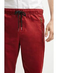 Forever 21 - Red Zip-pocket Chino Joggers for Men - Lyst
