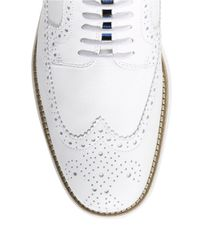 Cole Haan | White Leather Wingtip Brogue Oxfords for Men | Lyst