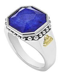 Lagos | Metallic 14Mm Sterling Silver Lapis Rocks Ring | Lyst