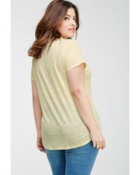 Forever 21 - Yellow Slub Knit Pocket Tee - Lyst