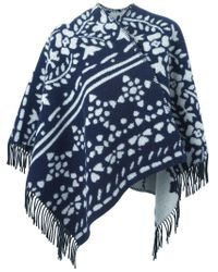 Burberry - Blue Jacquard Knit Fringed Poncho - Lyst