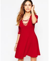 ASOS | Red Skater Dress With Lace Up Front | Lyst
