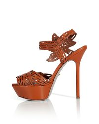 Sergio Rossi Brown Red Chestnut Flower Cut Out Plateau Sandals