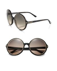Tom Ford | Black Carrie 59mm Round Sunglasses | Lyst