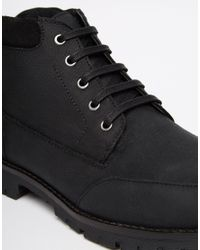 ASOS - Lace Up Boots In Black Leather for Men - Lyst