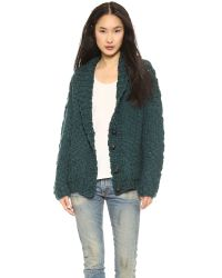 L'Agence Hand Knit Cardigan Teal Green