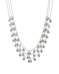 Anne Klein | Metallic Shaky Circle Drop Three-strand Necklace | Lyst