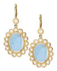 Penny Preville | Blue Oval Rose-cut Aquamarine & Rose-cut Diamond Scalloped Earrings On French Wire | Lyst