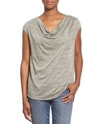 Gibson - Gray Drape Neck Stripe Top - Lyst