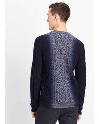 Vince Blue Wool Cashmere Marled Cable Knit Dégradé Crew Neck Sweater for men