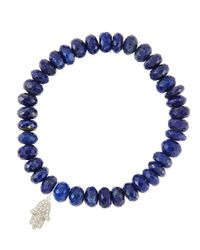Sydney Evan | Blue 8Mm Faceted Lapis Beaded Bracelet With 14K White Gold/Diamond Small Hamsa Charm (Made To Order) | Lyst