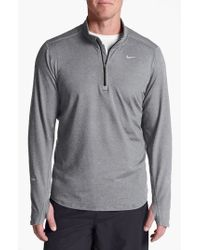 Nike Gray 'element' Dri-fit Half Zip Running Top for men