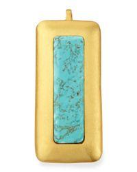 Stephanie Kantis - Metallic Crush Turquoise Rectangle Pendant - Lyst