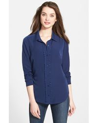 NYDJ | Blue Fit Solution Ruffle Placket Blouse | Lyst