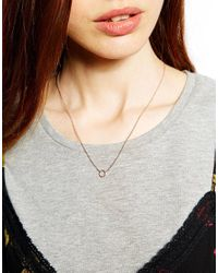 Dogeared - Metallic Exclusive For Asos Rose Gold Plated Tiny Sparkle Karma Circle Necklace - Lyst