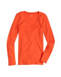 J.Crew - Orange Perfect-fit Long-sleeve V-neck T-shirt - Lyst