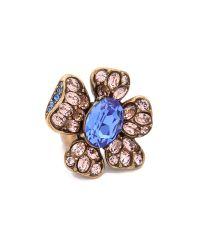 Oscar de la Renta Metallic Flower Ring