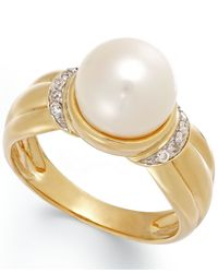 Macy's | Metallic Cultured Freshwater Pearl (8-1/2 Mm) And Diamond Accent Ring In 14k Gold | Lyst