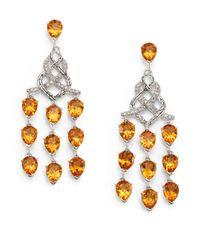 John Hardy - Orange Classic Chain Citrine, Diamond & Sterling Silver Chandelier Earrings - Lyst