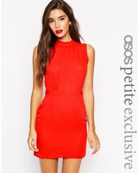 ASOS | Pink Sleeveless Mini Dress With High Neck - Coral | Lyst