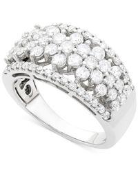 Wrapped in Love | Metallic Diamond Flower Ring (1-1/2 Ct. T.w ) In 14k White Gold | Lyst