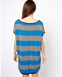 Shae | Blue Easy Dolman Knitted Tshirt Dress | Lyst