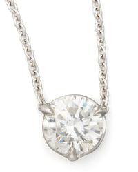 Neiman Marcus | Metallic 18k White Gold Diamond Solitaire Pendant Necklace | Lyst