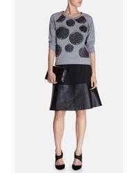 Karen Millen Black Faux Leather Hem Skirt