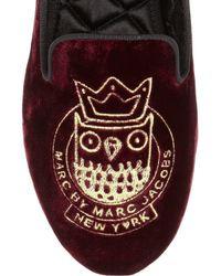 Marc By Marc Jacobs Red Owl Velvet Slip-ons