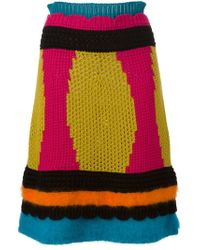 RED Valentino - Multicolor Open Knit Colour Block Skirt - Lyst