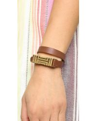 Tory Burch - Brown For Fitbit Fret Double Wrap Bracelet - Bark/Aged Gold - Lyst