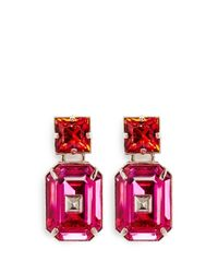 Valentino | Pink Bi-colour Rhinestone Earrings | Lyst