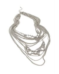 Forever 21 - Metallic Layered Chain & Rhinestone Necklace - Lyst