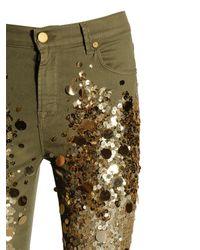 Amen Green Slim Fit Sequined Cotton Denim Jeans