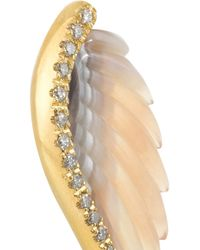Noor Fares - Gray Wing 18-Karat Gold, Agate And Diamond Earrings - Lyst