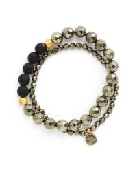 Satya Jewelry - Gray Beaded Stretch Bracelets - Pyrite (set Of 2) - Lyst