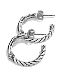 David Yurman | Metallic Metro Hoop Earrings With Diamonds | Lyst