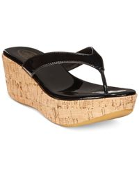 Callisto | Black Beachie Cork Thong Platform Wedge Sandals | Lyst