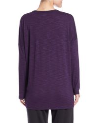 Lord & Taylor Purple Seam-detail Pullover