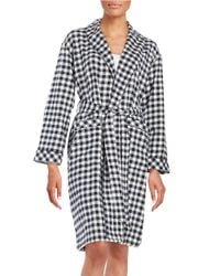 Lord & Taylor | Blue Plaid Cotton Robe | Lyst