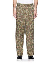 Kolor Green Pleat Front Camouflage Canvas Pants for men
