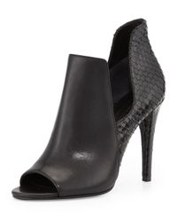 Sigerson Morrison Black Mance Cutout Snake-embossed Bootie