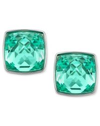 Swarovski - Palladium-Plated Antique Green Crystal Stud Earrings - Lyst