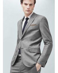 Mango Gray Slim-fit Wool Suit Blazer for men