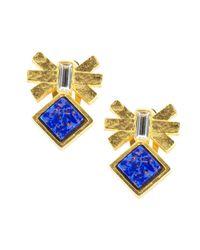 Gerard Yosca Blue Mesa Eagle Lapis And Swarovski Crystal Stud Earrings