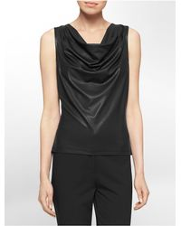 Calvin Klein | Black White Label Textured Cowl Neck Sleeveless Top | Lyst