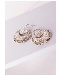 Missguided | Metallic Coin Detail Drop Earrings Gold | Lyst